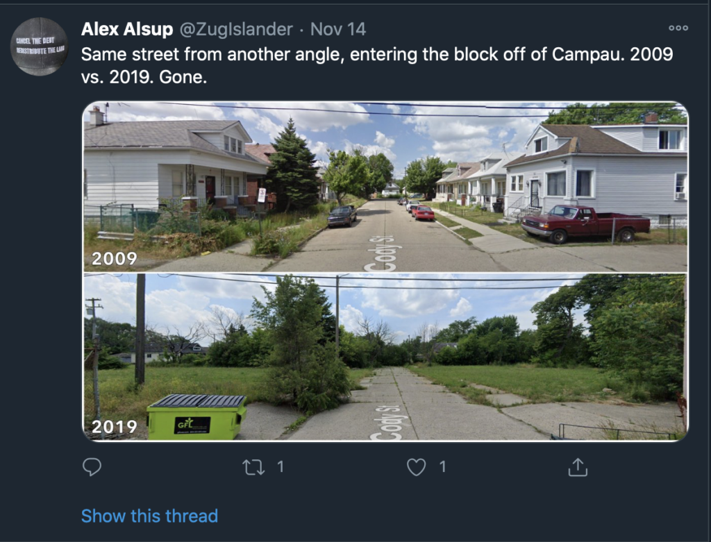 google street view of a Detroit property several years apart